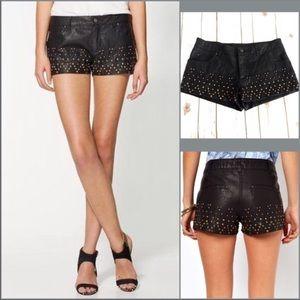 Free People Shorts - Free People Faux Leather Vegan Shorts Studded Sz 4